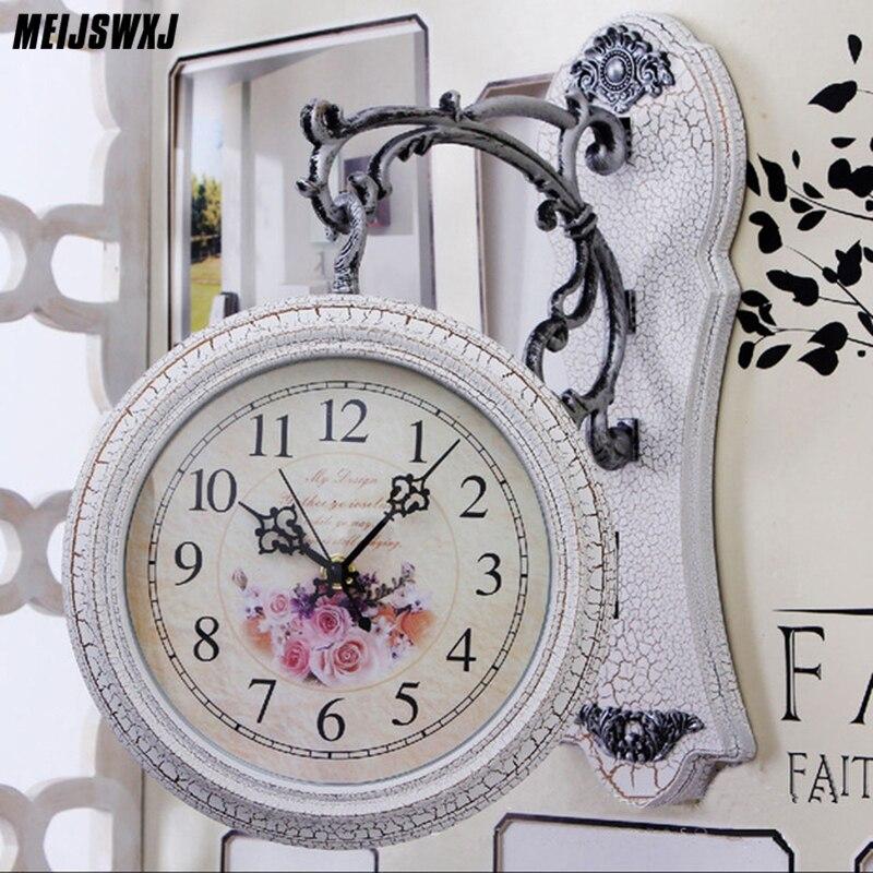 Meijswxj Double-Face Horloge Murale Saat Reloj Relogio De Parede Numérique Horloge Duvar Saati Horloge Murale À Quartz Muet Mur horloges