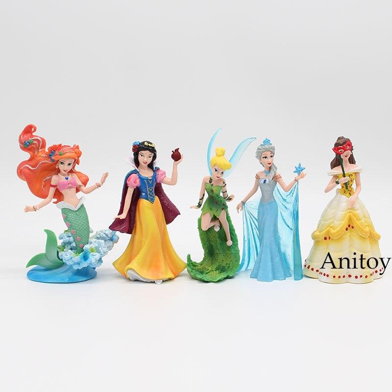 5pcs/set Princesses Toys Snow White Elsa Ariel Bella Tinker Bell PVC Action Figure Model Toys 14-16cm KT3734 princesses toys snow white merida rapunzel belle tiana ariel jasmine mulan pvc figures gifts for girl 11pcs set