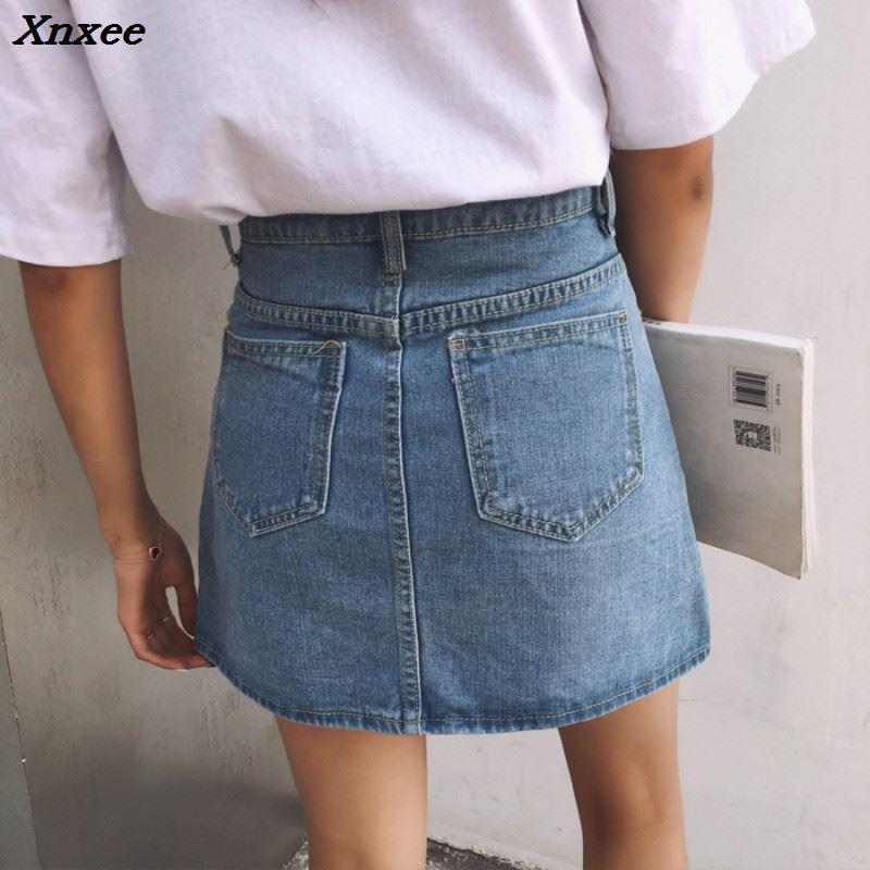 Xnxee Spring Summer Harajuku Ring Zipper Denim Skirts 2018 Women Casual High Waist Big Pocket Skirt Female Denim Skirts Xnxee in Skirts from Women 39 s Clothing
