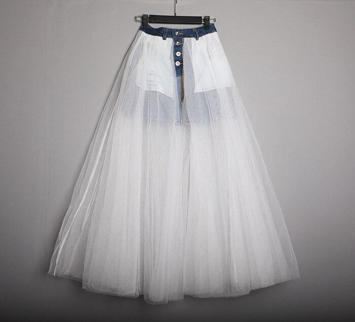 Mujeres Largo Mezclilla Casual Negro Patchwork División blanco Cintura Moda Mujer De Jeans Malla Paquete Nueva Para Falda Primavera Faldas Alta UtZUqxwa7
