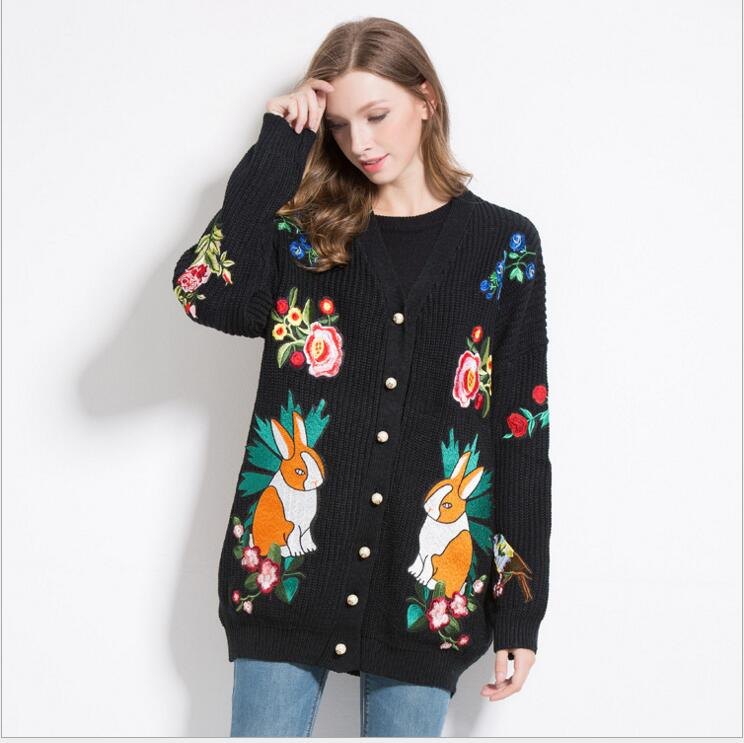 New 2017 Women Ladies Cute Autumn Winter Luxury embroidery Tiger Rose rabbit Loved Casual Sweaters Cardigans High quality #E176