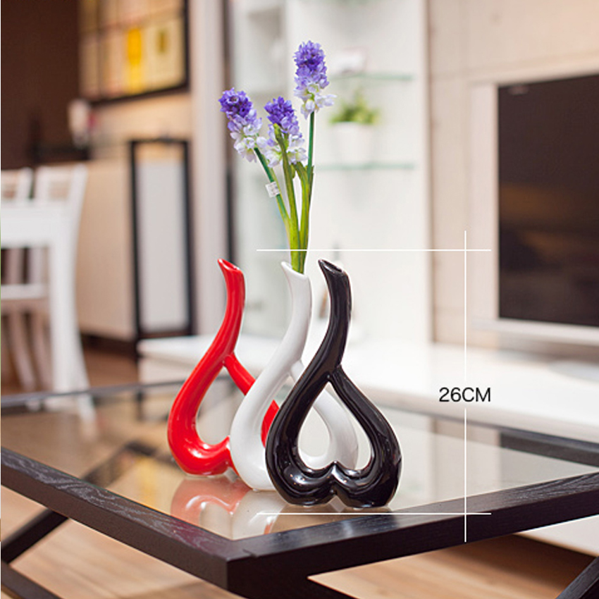Creative 3D Heart Shape Wedding Decoration Flower Vase Ornament Floral Plant Ceramic Vases Container Home Decor Accessories in Vases from Home Garden