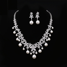 HIBRIDE White gold Color Luxury Pearl Jewelry Sets High Quality Austrian Crystal Pearl Pendant Women Bridal Jewelry Sets N-161
