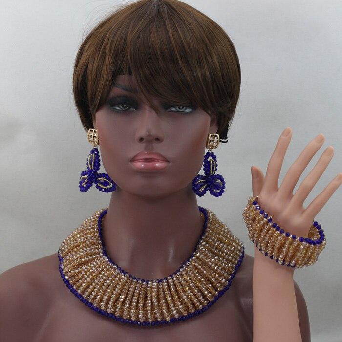 Großhandel Gold/Champagne Afrikanische Perlen Schmuck Set Royal Blue Nigerian Halsketten Armband Ohrringe Set Geschenke Freies Verschiffen QW682 - 3