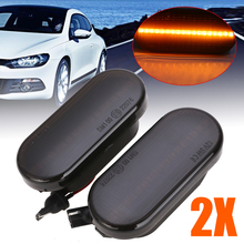 2pcs/set Dynamic Flowing LED Side Marker Signal Light Amber Smoke Sequential Blinker For Ford SEAT