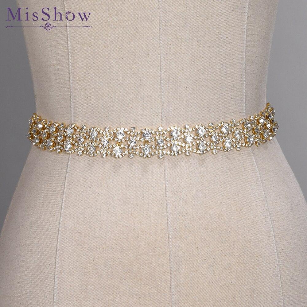 De cristal hecho a mano de la boda de oro de diamantes de imitación de plata boda Vestido cinturón nupcial Formal cinta faja cinturón de accesorios de la boda