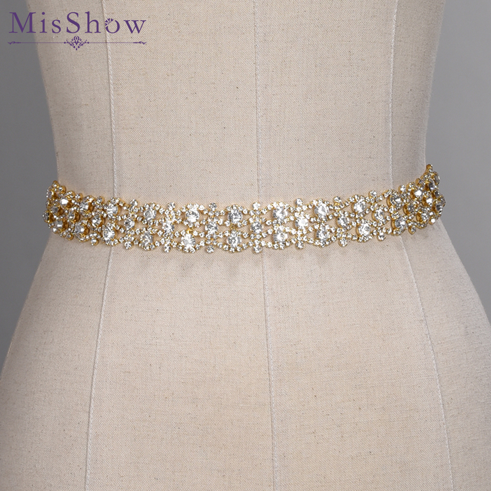 Handmade Crystal Wedding Belts Golden Silver Rhinestone Wedding Dress Belt Formal Wedding Accessories Bridal Ribbon Sash Belt