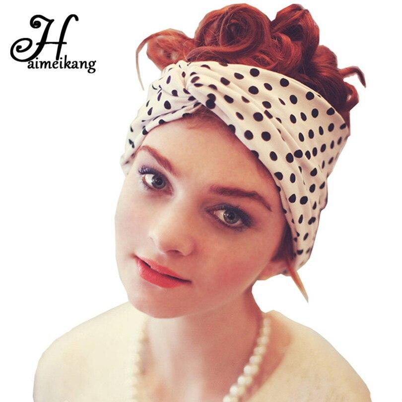 Womens Milk Silk Cross Knot Headband Spot Pattern Elastic Hair Bands for Women Turban Headdress Hair Accessories,3
