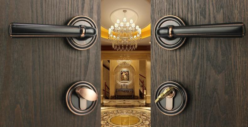 Thai good copper lock Taiwan globallinks topsystem American black copper split door lock handle ME 2390 good me bad me