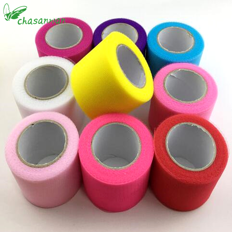 1pc Poročno dekoracijo 5cmx22m Tulle Rolls Organza Sheer Gauze Element Tabela Tulle Tkanina Roll Spool DIY Crafts Birthday Party, Q