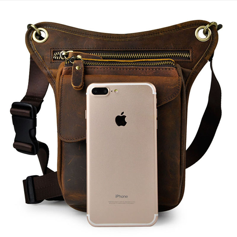 Men's Crazy Horse Leather Drop Leg Bag Fanny Pack Waist Thigh Hip Bum Belt Messenger Shoulder Bag Travel Motorcycle