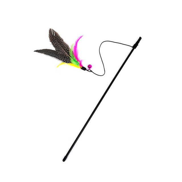 Hot-sale Kitten Cat Teaser Interactive Toy Rod with Bell and Feather Wholesale Price Apr25
