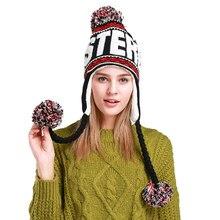 Novo designer de moda beanies chapéu de inverno com orelhas quente gorro menina chapéus com topo bola bonnet femme