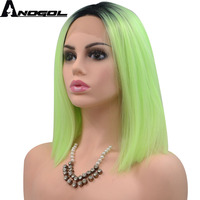 Anogol High Temperature Fiber Peruca Perruque Short Straight Bob Black Ombre Green hair Wigs Frontal Synthetic Lace Front Wigs
