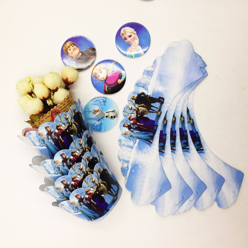 HOT 24pcs/set Frozen Disney Party Supplies Cupcake Wrappers And Toppers Kids Birthday Decoration Baby Shower For Girls