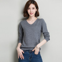 New 2017 Autumn Winter Fashion Women Sexy V Neck Knit Sweater Outerwear Pullover Tops Knitted Cashmere