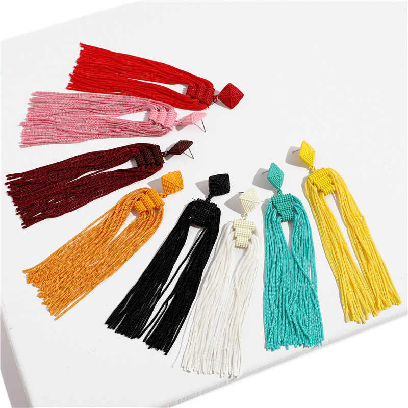 JOUVAL Handmade Beads Long Tassel Earrings For Women Trendy Dangles Drop Brincos Statement Fringe Earrings Boho Jewelry