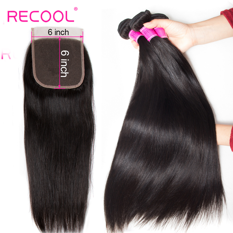 Recool Straight Bundles With 6x6 Lace Closure Brazilian Hair Weave 3 Bundles With Closure Remy Human
