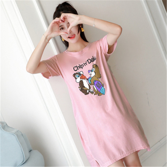 ecb451c9d9 Women Cotton Nightgown Cartoon Sleep Dress Short Sleeve 2018 Sleep Shirt  Plus Size Night Shirt Sexy Nightwear Casual Home Dress