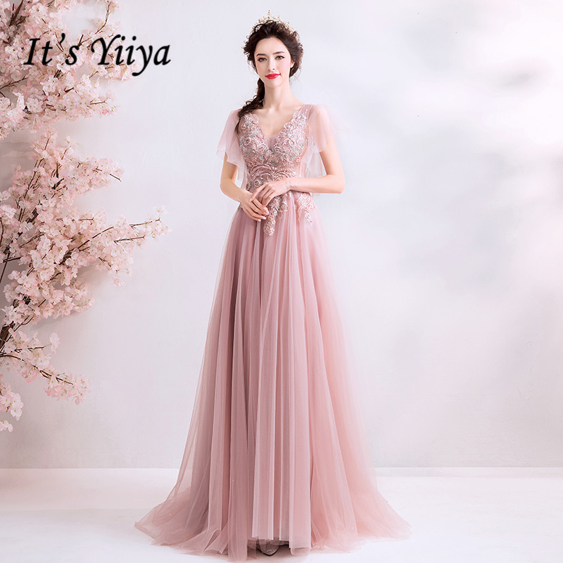 It's YiiYa   Evening     Dress   Soybean Beading Flowers   evening     dresses   Crystal Illusion Lace Up Short Sleeve Formal Gown E144