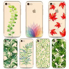 Beautiful Leaf Green Mobile Phone Cover Cases  for iphone 6 6s 6Plus 7 7s 7plus Soft Slim TPU Transparent Colorful Phone Cases