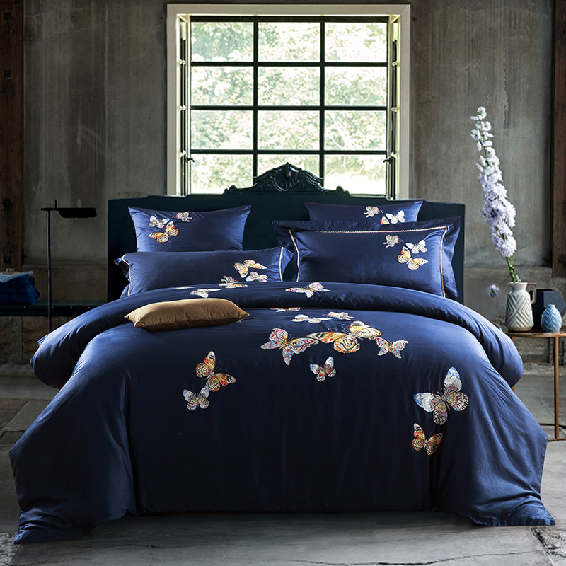4 6 pcs Egypt cotton Luxury Embroidery butterflies Flowers Bedding set Queen King size Duvet cover