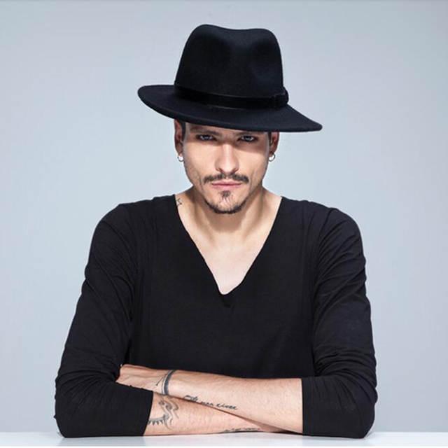 cefd5d348b4 placeholder VTG Brand Wool Men s Black Dad Fedora Hat For Gentleman Woolen  Wide Brim Jazz Church Cap