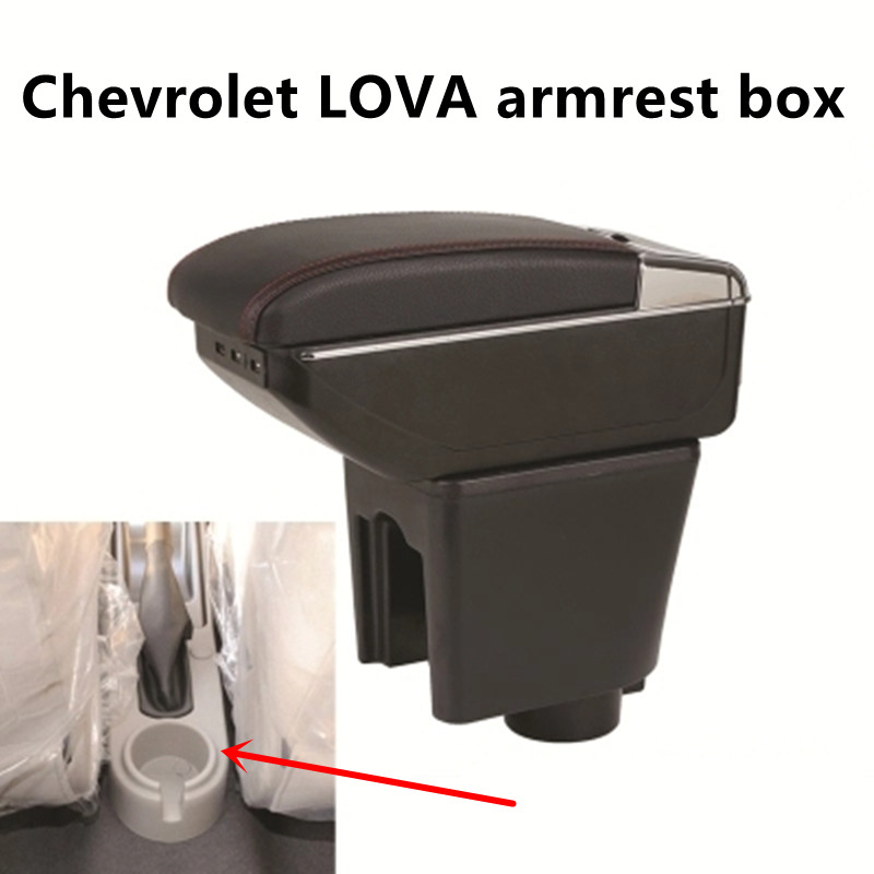 For Chevrolet Aveo T200 / T250 2002-2011 Rotatable Top Leather Center Console Storage Box Armrest Cup Arm Rest 2008 2009 2010