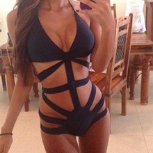 3 Colors Brand  Swimwear Women High Waist One Piece Swimsuit Sexy Monokini Bathing Suit Womens Bandage Swimsuit Black Beach Wear