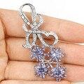 Rich Blue Violet Tanzanite, White CZ Woman's Engagement Created  Silver Pendant 59x24mm