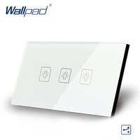 US AU Standard Wallpad Touch Switch 3 Gang 2 Way Touch Screen Light Switch White Crystal