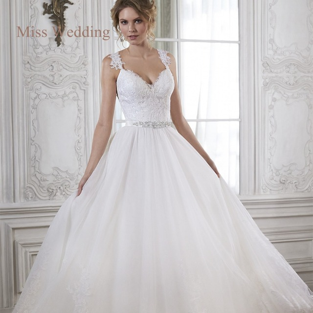Wedding Ball Gowns With Straps: Elegant Lace Straps Backless Ball Gown Tulle Wedding Dress