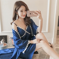 Summer Women Sexy Nightwear Lace High Quality Nightgown Imitated Silk Knee Length Gallus Long Sleeve Ladies Homewear SY0021