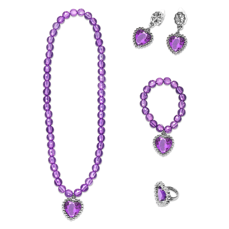Baby Girls Jewelry Princess Sofia Bell Elsa Accessories 4 Colors Necklace Bracelet Earrings Rings Children 5pcs Set Jewellery