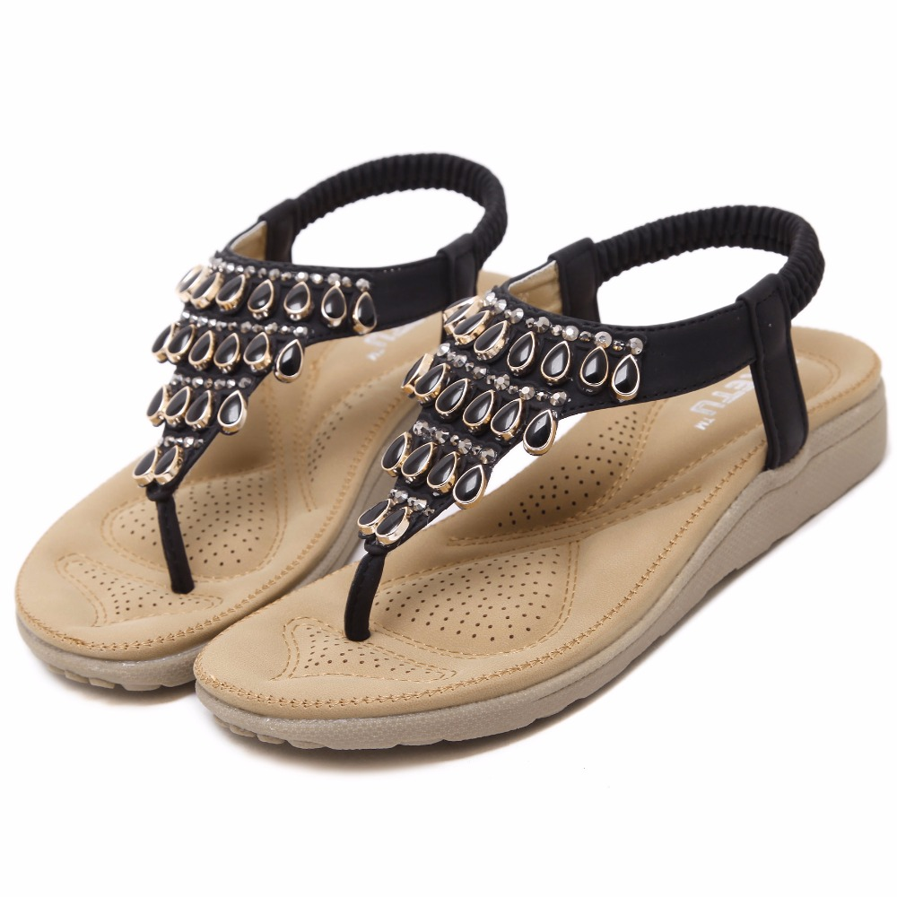 Women sandals women shoes solid black apricot summer shoes back strap Bohemia fashion causal flats glitter thong