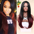 Ombre wigs for black women two tone black red perruque synthetic women None lace perruque peruca cosplay hair wholesale price