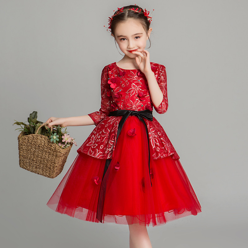 Summer Spring Luxury New Children Girls Red Color Birthday Wedding Party Princess Mesh Dress Teens Piano Costume Fluffy Dresses