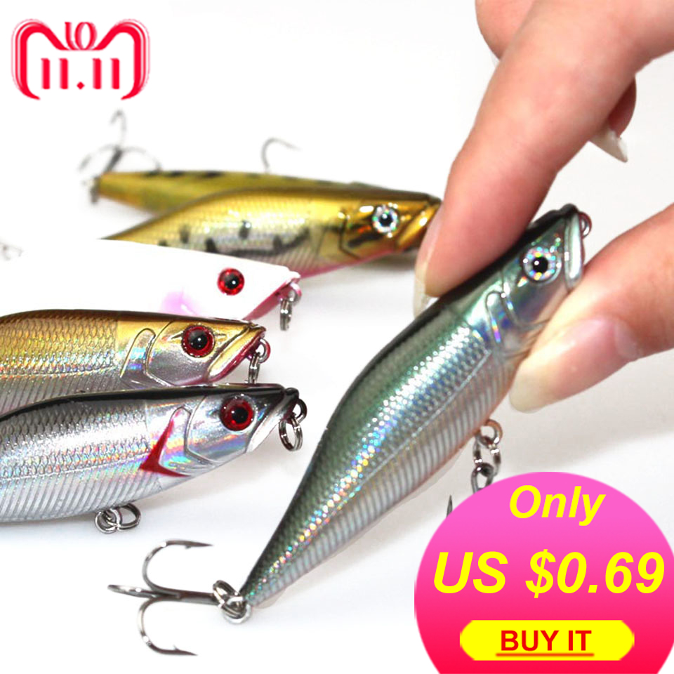 1pcs lifelike fishing lures 3d eyes 6 jointed sections lures crankbait hard bait fish hook jig carp pesca fishing tackle Walk Fishing 1Pcs 7cm 7.2g Popper Fishing Lures 3D Eyes Bait Crankbait Wobblers Isca Poper Pesca Japan fishing tackle