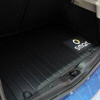 2015 2016 2017 2018 novo smart 453 forfour caixa de cauda traseira anti-sujo almofada padrão de fibra de carbono preto tronco esteira carro forma peças de automóvel
