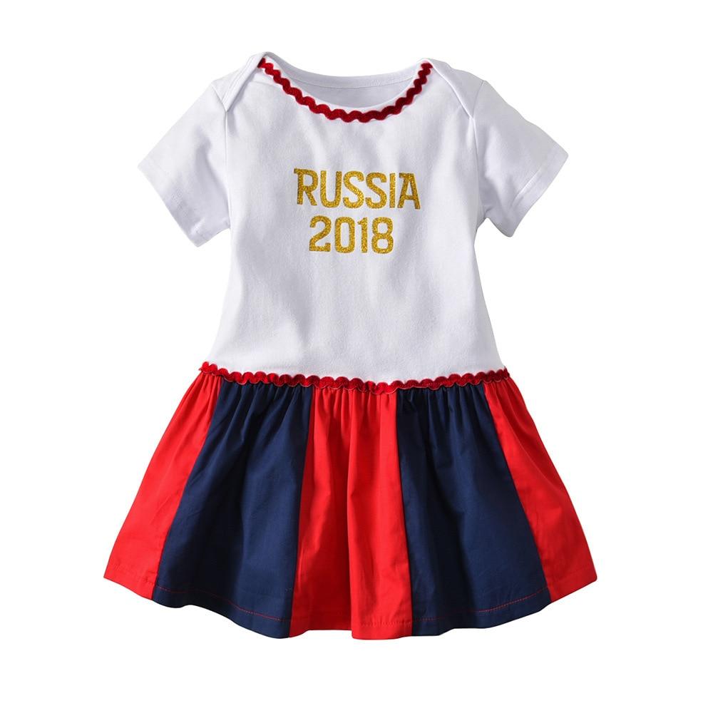 2018 Letter Print World Cup Baby Girl Hit Color Bodysuit With Skirt Newborn Short Sleeve Onesie Daddy Baby Bodysuit Summer