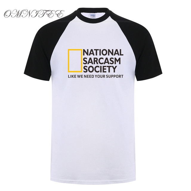 b83514de7084 Summer Cool National Sarcasm society T Shirts Mens Cotton Short Sleeve T- shirt Funny Sarcasm Men Tshirt Top Tees Man OZ-108