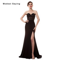 Sexy Split See Through Black Mermaid Sweetheart Crystal Beaded Evening Dresses 2017 Women Night Party Prom Gown robe de soiree