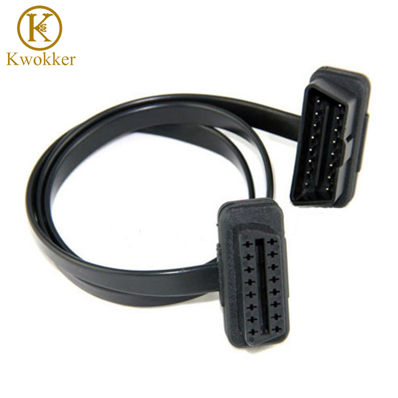 60CM Flat Thin As Noodle Cable OBD OBD2 OBDII 16Pin Male To Female Diagnostic Tool ELM 327 Extension Connector Cables
