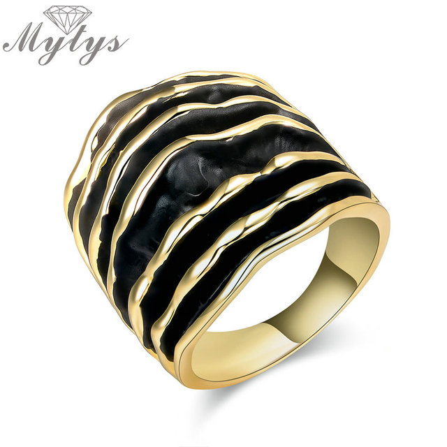 Mytys Gold Silver Color Fashion Wide Chunky Stripes Rings Enamel Wave Line State