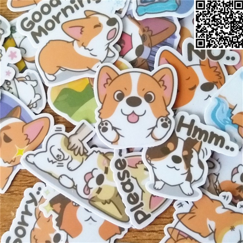 38 Pcs dog expression Sticker for Luggage Skateboard Phone Laptop Moto Bicycle Wall Guitar/Eason Stickers/DIY Scrapbooking