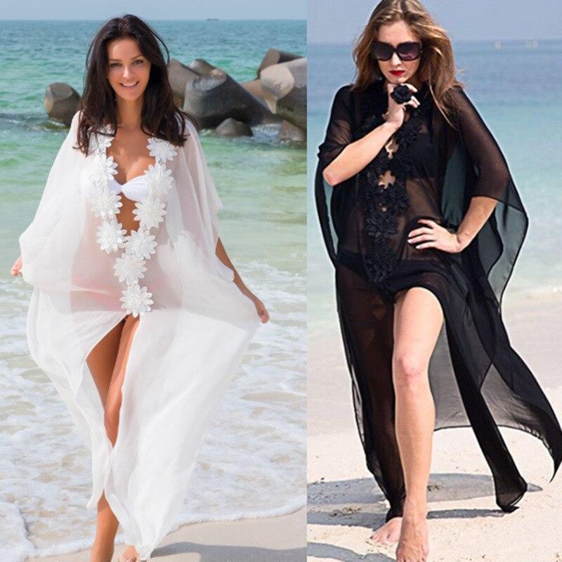 FGHGF Honeymoon Dress Beach Cover up Lace beach dress Tunic Pareos Swimwear Women Bikini Chiffon Swimsuit Sexy ups