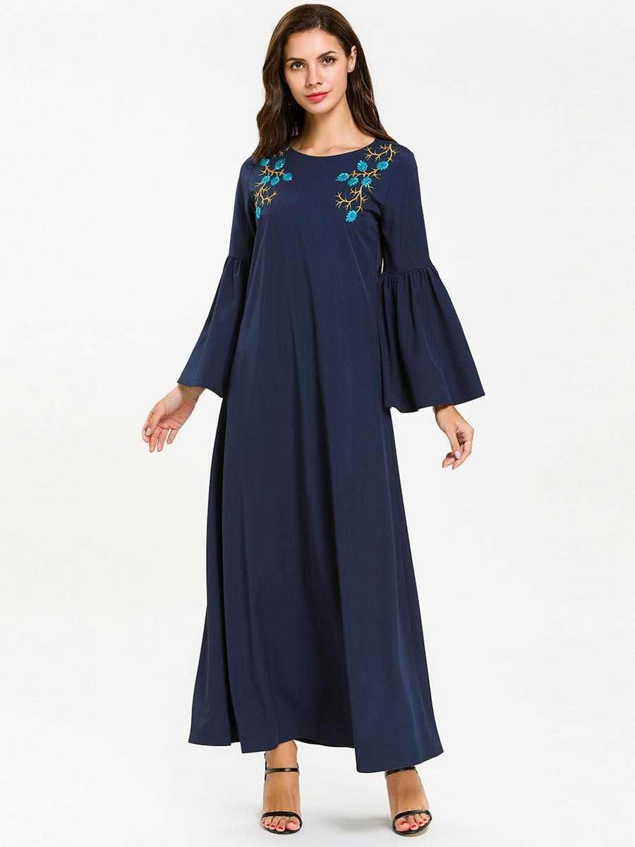Женская Абая для мусульман, Дубай новый стиль с расклешенными рукавами длинное платье ОАЭ кафтан исламский, арабский Тобе темно-синий вышивка Восточный халат из марокена