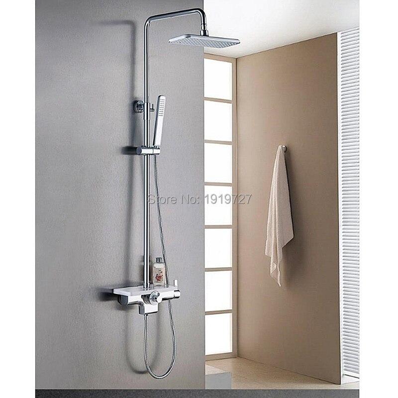 Новое поступление фабрики Высокое качество Роскошный Твердый латунный белый и хром Настенный Ванная комната душа Установить