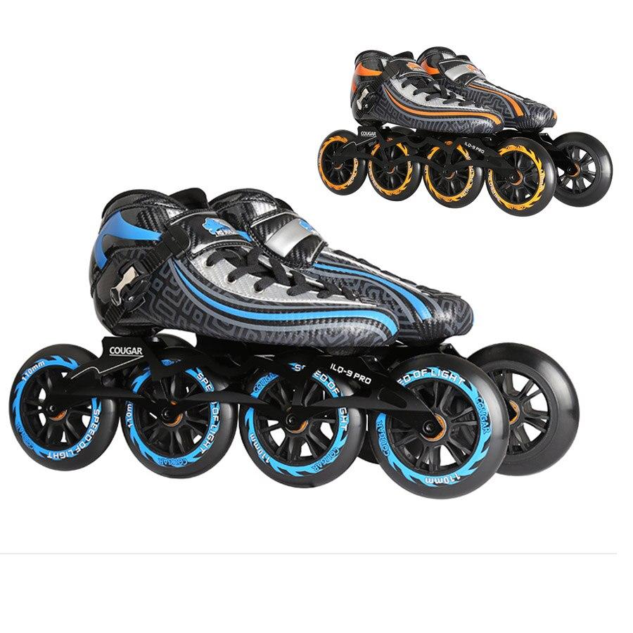 Original Cougar SR9 Speed Inline Skates Heat Modelable Carbon Fiber Competition Skates 4 Wheels Racing Skating Shoes Patines