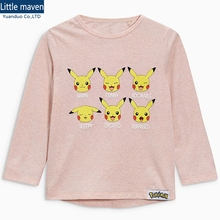 Girls Long Sleeve Tops Pokemon Baby Girl Top Cartoon Pink Children T shirts For Kids Clothes Little Maven T shirts For Kids